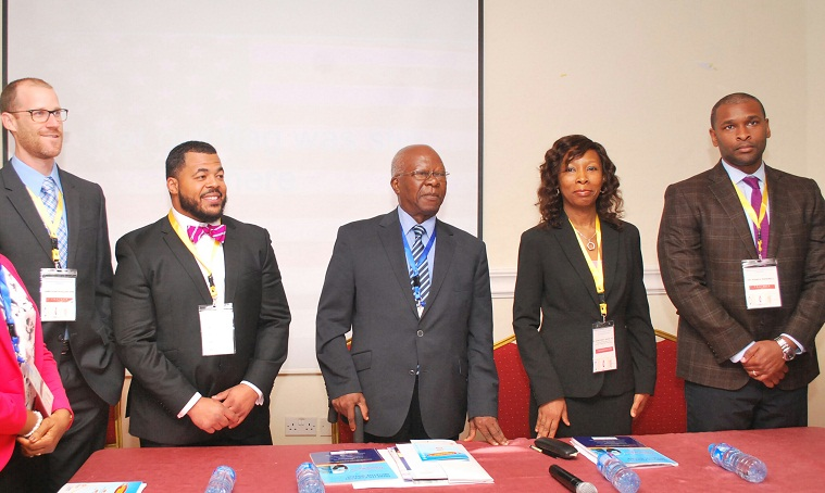 L-R: American Podiatrists and workshop trainers Dr. James Kinchsular and Dr. William Harris, chairman of the occasion, Prof. Tayo Johnson, Project Coordinator, Diabetes Podiatry Initiative Nigeria, Dr. Afokoghene Isiavwe and Dr Rahn Ravenell another trainer and Diplomat, American Board of Foot and Ankle Surgery at the opening ceremony of the 2nd Lagos Podiatry and Diabetes Foot Care workshop organised by Rainbow Specialist Medical Centre in collaboration with the World Diabetes Foundation in Lagos yesterday.
