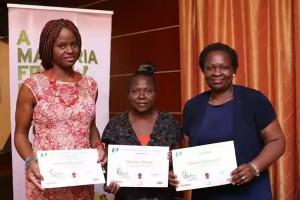 WINNERS: Linda Nengi Finecountry, Appolonia Adeyemi and Tosin Odusola displaying their award certificates.