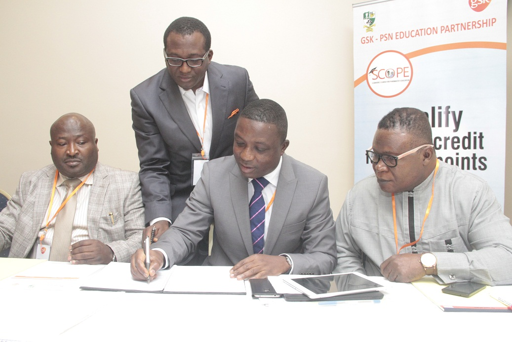 President, Pharmacists Society of Nigeria, Pharm, Olumide Akintayo, Commercial Development Manager, Africa & Development Countries in Asia (ADC), Mr. Jide Adeosun, Managing Director, GlaxoSmithKline (GSK), Mr. Lekan Asuni and National Treasurer, Pharmaceutical Society of Nigeria, Pharm. Duru Emeka during the signing of the MOU.