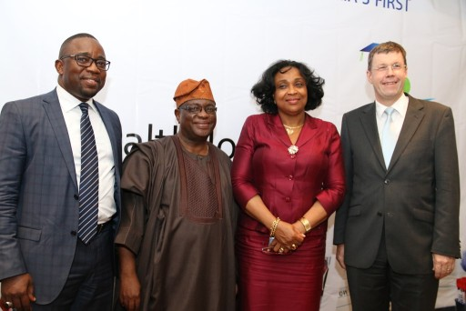 (L-R): Country Manager, Nigeria, Roche, Herman Addae; President, Cancer Education and Advocacy Foundation of Nigeria (CEAFON), Professor Durosinmi-Etti; Representative, Permanent Secretary, Federal Ministry of Health, Dr. Ngozi Azodo, and Deputy Head of Mission, Swiss Embassy, Daniel Cavegn, at the Launch of the Academy.