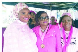 • (L-R) Partner, Go Pink Day and wife of Kebbi State Governor, Dr. Zainab Shinkarfi-Bagudu  Convener, Go Pink Day Professor Ifeoma Okoye and a guest at the Go Pink Day event in Abuja