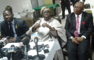 Prof. Adewole (Centre) flanked by (left) Prof. Innocent Ujah, DG, Nigerian Institute of Medical Research (NIMR) and Prof. Chris Bode, CMD, LUTH at a Press briefing after the visit.