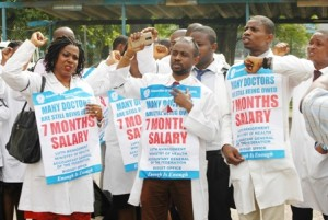 The Association of Resident Doctors, Lagos University Teaching Hospital (LUTH)  Chapter, in a  protest recently in Lagos.