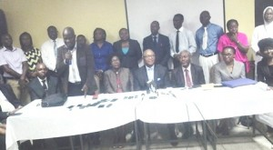 The CMD, Prof. Chris Bode (4th from right)  with Dr. Femi Fasanmade, and prof. jane Ajuluchukwu (to his left and right respectively) surrounded by members of the team