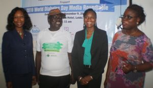 L-R Dr. Afoke Isiavwe, Medical Director Rainbow Specialist Hospital, Alhaji Hammed Afinowi, Chairman Diabetes Association of Nigeria Lagos Chapter, Folasade Olufemi-Ajayi, Accu-chek Strategic Account mgr and Adenike Dosunmu, Diabetes Care Educator both of Roche Products Limited Diabetes Care at the Media Roundtable