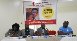 L-R: Ms. Adetokunbo Diane Lawrence, Advocacy Officer, Save the Children International Dr. Opeyemi Odedere, MNCH Adviser, Save the Children International, Barrister Ayo Adebusoye, Co- Chairman of the Lagos State Accountability Mechanism on Maternal and Newborn Health and Chairman of the Lagos Advocacy Working Group (LAWG) and Mr. Babatunde Folorunsho, Advocacy Adviser, Save the Children International at the press briefing.
