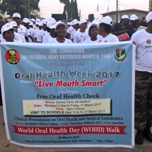 Army hospital walks for oral hygiene